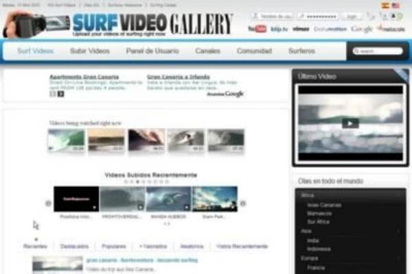 Diseño Web Surf Video Gallery, galería de videos de surfing